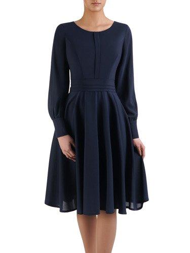 Szyfonowa sukienka w klasycznym fasonie 14732, elegancka kreacja midi.