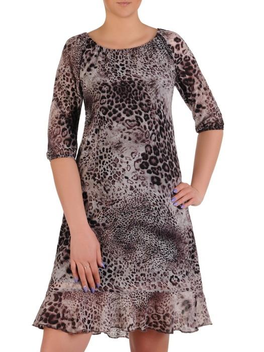 Szyfonowa sukienka z falbanką, zwiewna kreacja w zwierzęcy wzór 20446