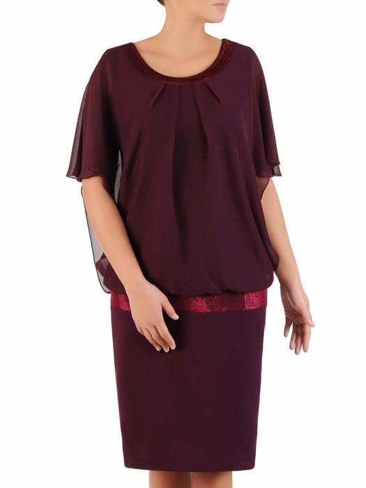 Szyfonowa sukienka z połyskującą listwą, luźna kreacja w modnym fasonie 21830