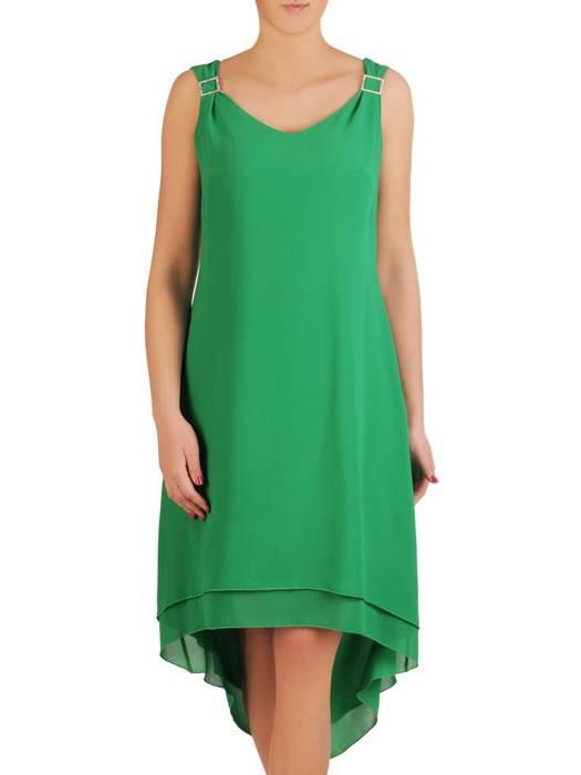 Szyfonowa, zielona sukienka z dłuższym tyłem 29246