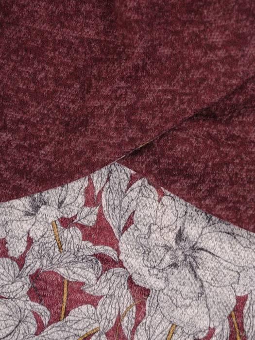Trapezowa kreacja, bordowa sukienka w kwiaty 27290