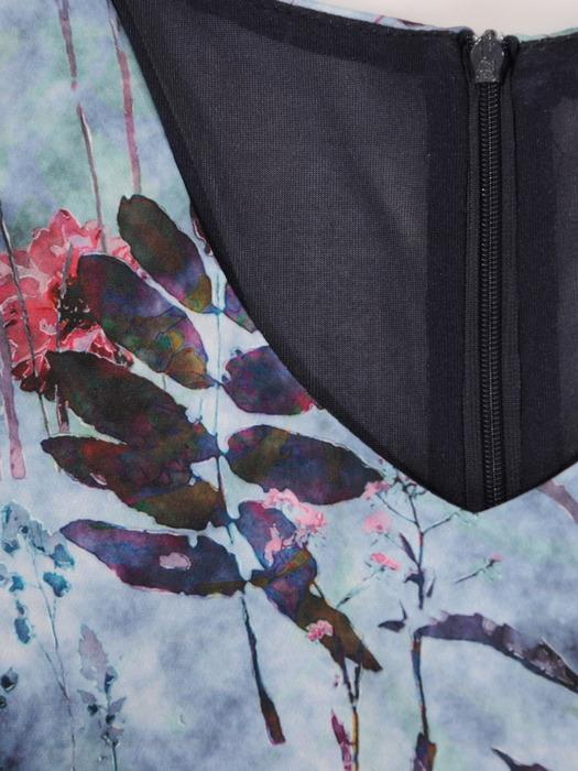 Trapezowa sukienka damska, jesienna kreacja w roślinny wzór 21882