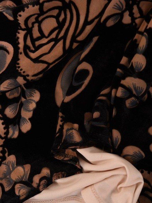 Trapezowa sukienka w kwiaty, kreacja z szyfonowymi rękawami 23805