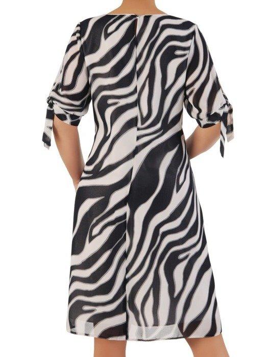 Trapezowa sukienka z kontrastowym, wyszczuplającym nadrukiem 25095