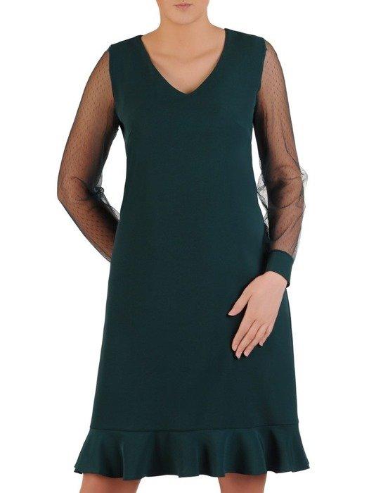 Trapezowa sukienka z modną falbaną, kreacja z tiulowymi rękawami 24718
