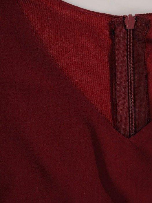 Trapezowa sukienka z szyfonowymi, rozciętymi rękawami 23983