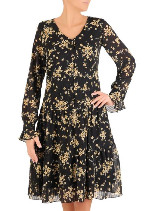 Trapezowa sukienka z szyfonu, kreacja z falbanami na rękawach 27594