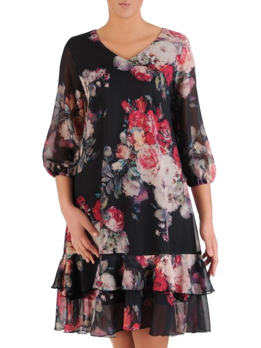 Trapezowa sukienka z szyfonu, zwiewna kreacja w kwiaty 23233