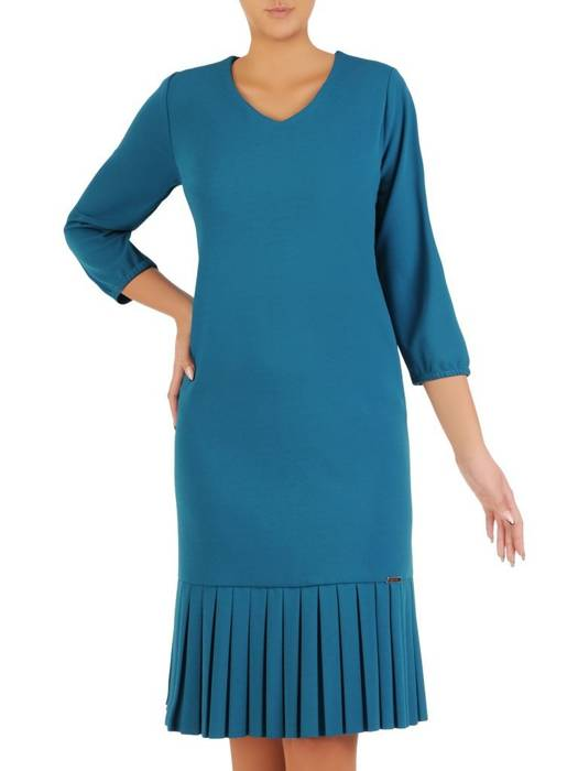Turkusowa sukienka z dzianiny, kreacja z ozdobnymi kontrafałdami 27422