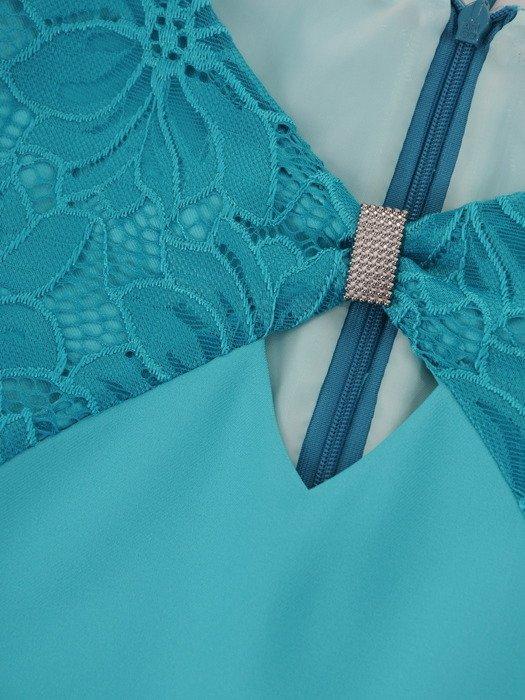 Turkusowa sukienka z koronkowym wykończeniem 17072.