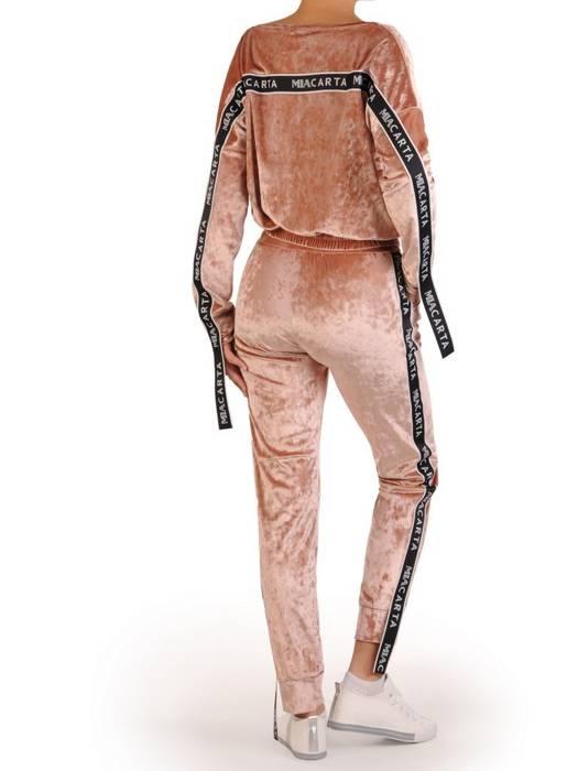 Welurowy modny dres damski z lampasami 28271