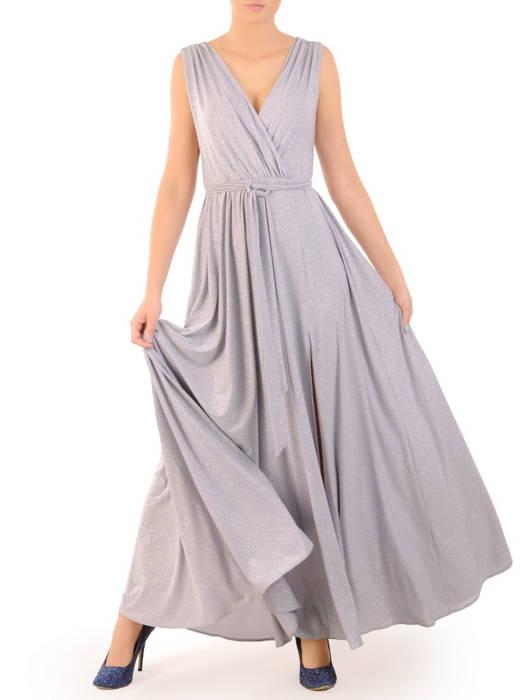 Wieczorowa, kopertowa suknia maxi z połyskującego materiału 30837