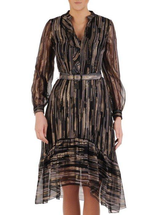 Wieczorowa połyskująca sukienka z paskiem 24783