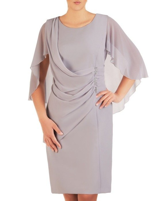 Wieczorowa popielata sukienka z ozdobnym przodem 25998