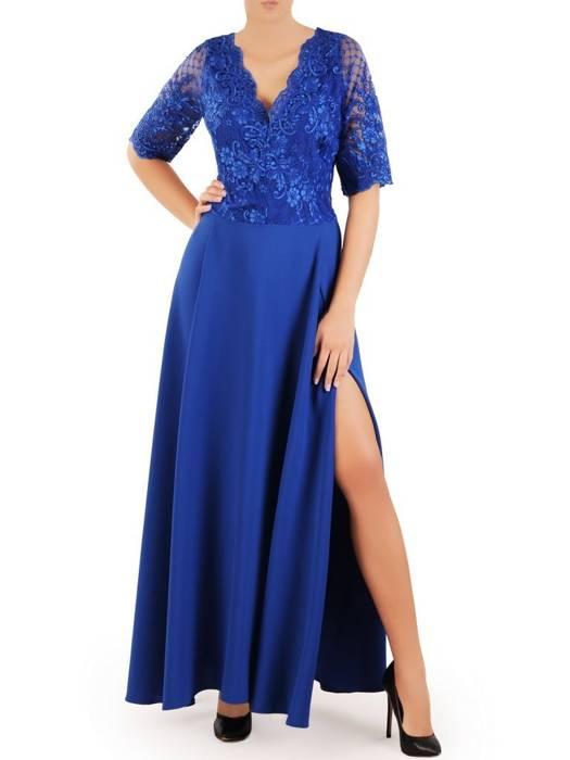 Wieczorowa sukienka o długości maxi, kreacja z koronkowym topem 30305