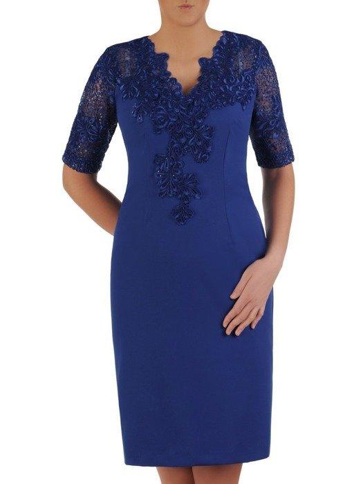 Wieczorowa sukienka wykończona modną koronką 25175