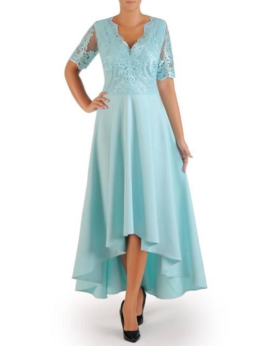 Wieczorowa sukienka z dłuższym tyłem i ozdobnie wyciętym dekoltem 26856