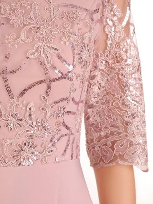 Wieczorowa suknia z koronki i tkaniny, kreacja z wydłużonym tyłem 30163
