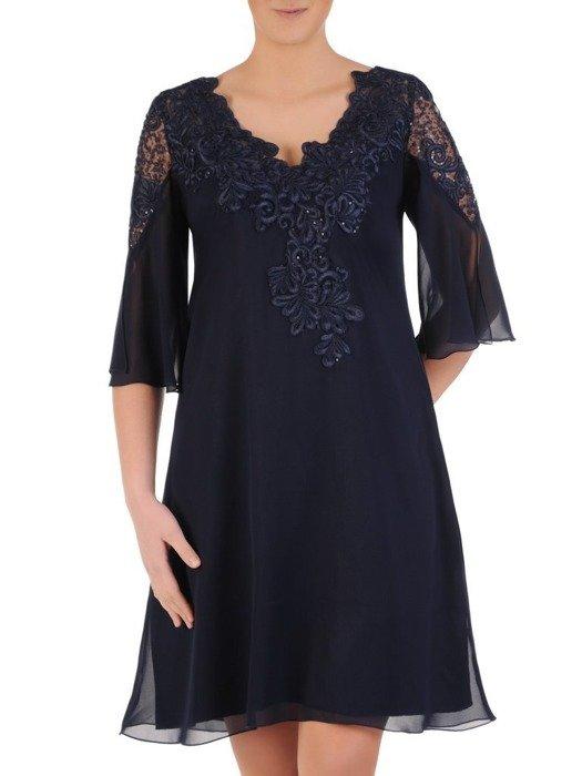 Wieczorowa trapezowa sukienka wykończona modną koronką 25170