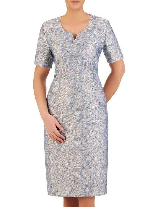 Wieczorowy kostium damski, niebieska połyskująca kreacja 25056