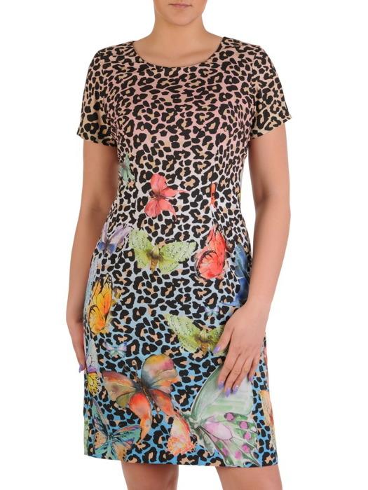 Wiosenna sukienka z modnym, kolorowym nadrukiem 20524