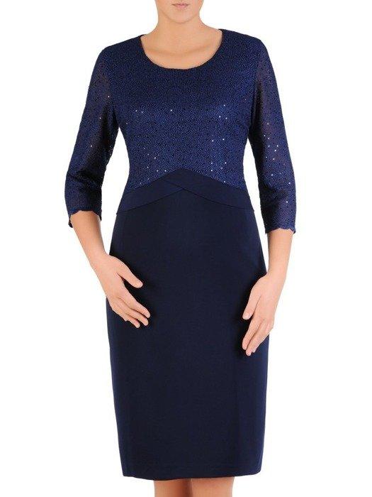 Wizytowa sukienka damska, elegancka kreacja z koronki i tkaniny 23564