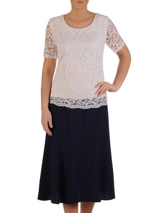 Wizytowa sukienka z koronkowym topem, granatowa kreacja z tkaniny 24750