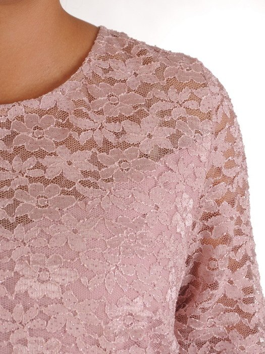 Wizytowa sukienka z koronkowym topem, pudrowa kreacja z dzianiny 23337