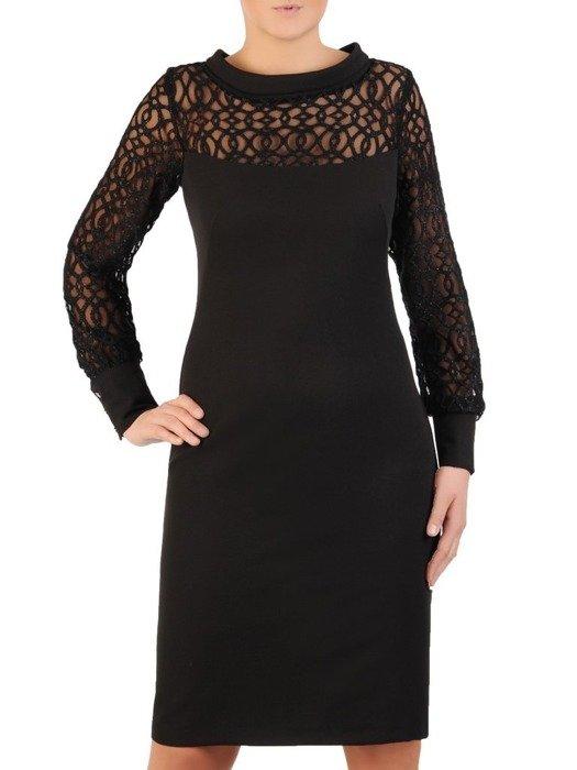 Wizytowa sukienka z koronkowymi rękawami i modnym półgolfem 24048