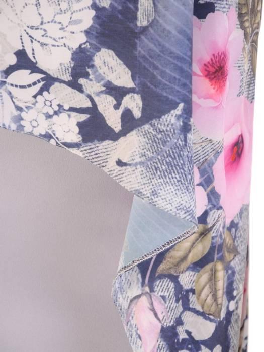 Wizytowa sukienka z łączonych tkanin w pastelowym wzorze 29718