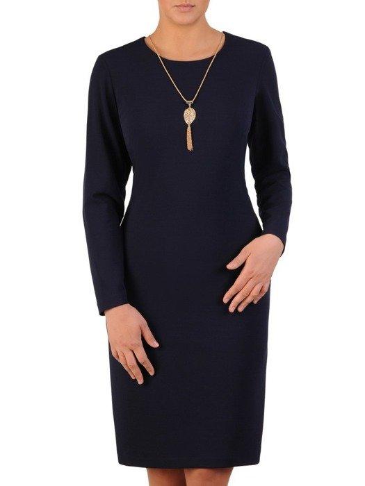 Wizytowa sukienka ze złotym wisiorkiem, granatowa kreacja z dzianiny 23972