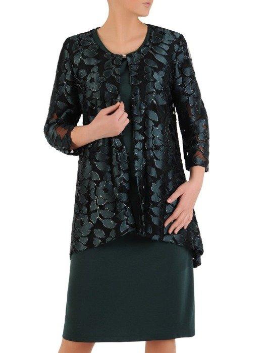 Wizytowy komplet damski, szyfonowa sukienka z koronkowym żakietem 24495