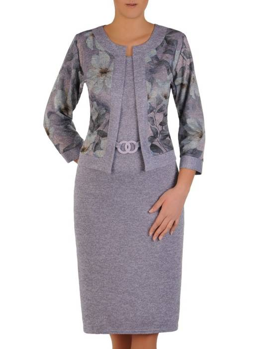 Wrzosowa dzianinowa sukienka, kreacja z imitacją żakietu 28156