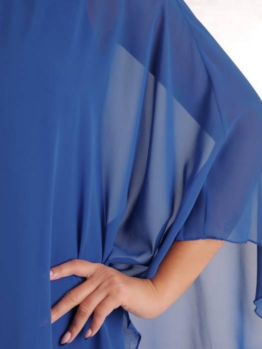 Wyjściowa kreacja z szyfonową narzutką, wyszczuplająca sukienka 27456