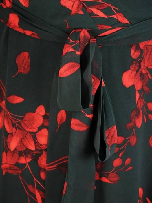 Wyjściowa, zwiewna sukienka w kwiaty z kopertowym dekoltem 30392