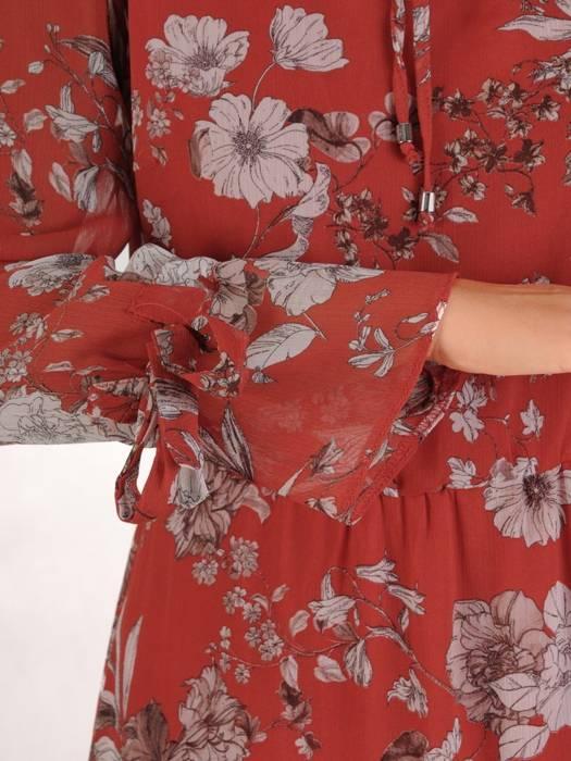 Wyszczuplająca sukienka maxi, kreacja z ozdobnym wykończeniem 27285
