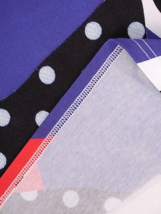Wzorzysta bluzka z dzianiny bawełnianej 30056