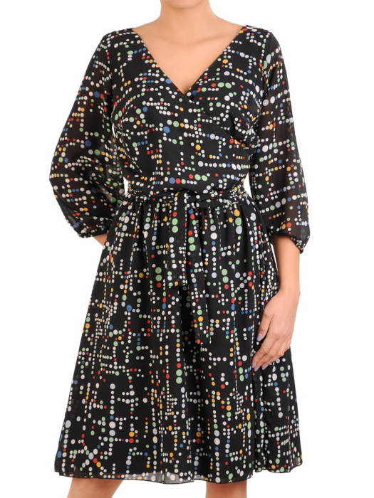 Wzorzysta, rozkloszowana sukienka z kopertowym dekoltem 30913