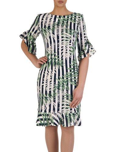 Wzorzysta sukienka z ozdobnymi falbankami 15570, nowoczesna kreacja wyszczuplająca.