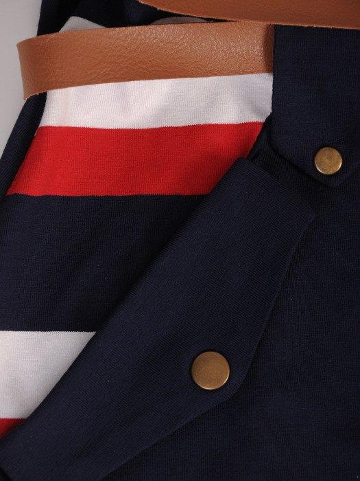 Wzorzysta tunika z modnymi kieszeniami 16942.
