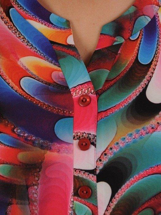 Wzorzysta tunika zapinana na guziki  24974