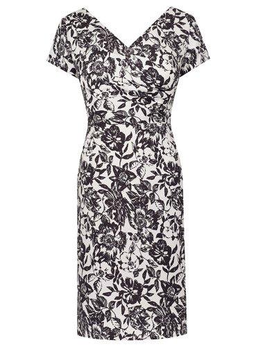 Żakardowa sukienka w biało-czarne kwiaty Syntia, kopertowa kreacja wizytowa.