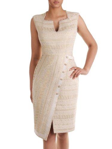 Żakardowa sukienka w modnym, asymetrycznym fasonie 16633.