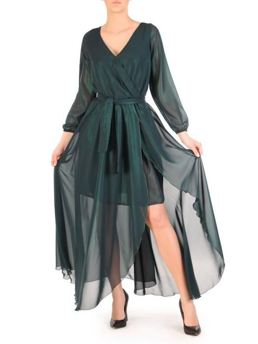Zielona sukienka damska, połyskująca długa kreacja 29539