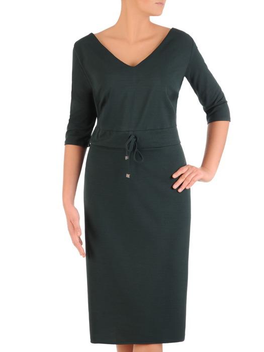 Zielona sukienka z ozdobnym ściągaczem, modna kreacja z dzianiny 22665