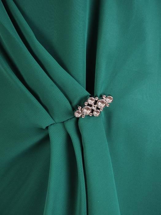 Zielona sukienka ze zwiewnego szyfonu z wyszczuplającą zakładką 30412