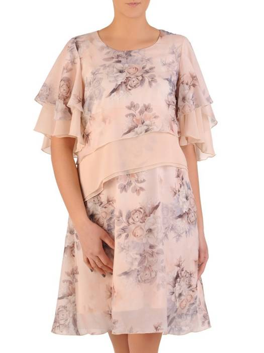 Zwiewna sukienka damska, kreacja w kwiaty 28606
