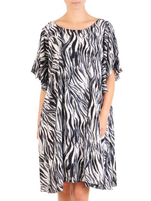 Zwiewna sukienka damska, kreacja z ozdobnie wyciętymi rękawami 30188