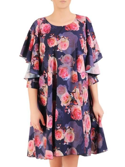 Zwiewna sukienka w kwiaty, kreacja z ozdobnie wyciętymi rękawami 29917