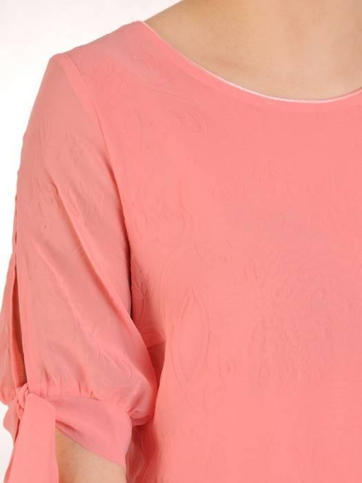Zwiewna sukienka z szyfonu, łososiowa kreacja z wiązaniami na rękawach 29865